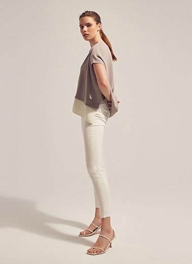 Monamoda Loose Fit Eteği Garnili Bluz Takım Üst Gri